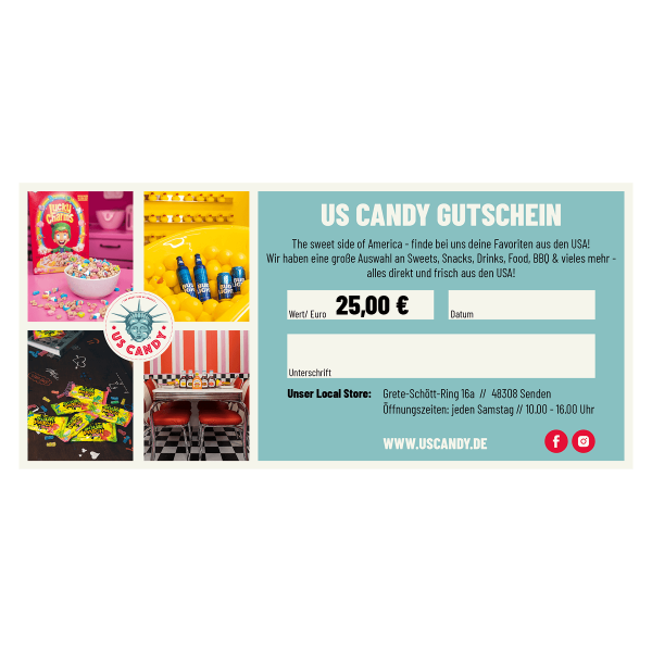 US Candy Gutschein 25,00 Euro