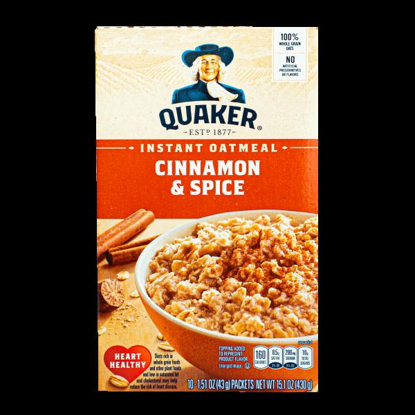 Quaker Instant Oatmeal Cinnamon & Spice 430g
